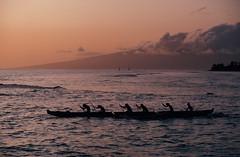 1982-05c-18 (joncosner) Tags: 1982 boats fromslides hawaii lahaina maui stars3 sunset
