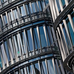 '60 London' (No Great Hurry) Tags: londonarchitecture light 550d canon blue abstract architecture lookingup london robinmauricebarr nogreathurry constructuralart architectureontheslant lines curve holbornviaduct holborn kohnpedersenfoxassociates 60london amazon building 18200 géométrie