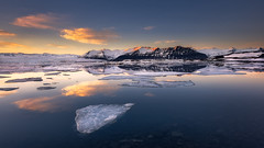 Wide Open (CResende) Tags: cresende travel iceland niceland wide pano d810 progreyusa jokulsarlon sunset warm glacier icebergs water ice blue 1424 reflection