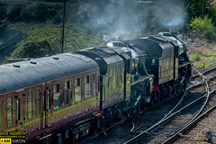 Black 5's 45212 and 45407 at Stockton (dave hudspeth photography) Tags: steam nymr black5 nrm stockton railway iconic transport davehudspeth sunshine track britishrail