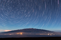 Star Trails over Mauna Kea (geekyrocketguy) Tags: maunakea maunaloa hawaii bigisland northstar polaris keck laser astronomy adaptiveoptics