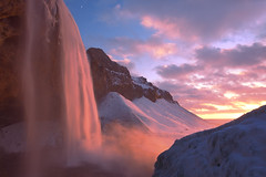 Firefall (Xiu Yu SD) Tags: adventure ice snow clouds red sunset vik seljalandfoss iceland