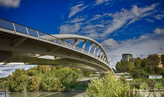 The Bridge of Music (occhio-x-occhio) Tags: watermark sky architecture blue morning web outdoor cement iron rome new smooth bridge pinterest fb flickr italy