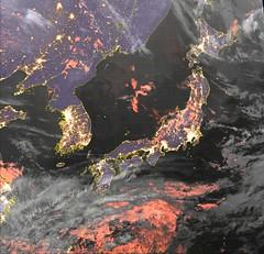 Early Morning in Japan on 19 March 2017 (sjrankin) Tags: 19march2017 edited jaxa himawari8 citylights japan korea china russia northkorean southkorea tokyo seoul sapporo osaka nagoya seaofjapan pacificocean eastchinasea clouds okhotsksea