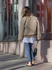 off the shoulder and bomber jacket (Lena Juice) Tags: earrings pearl drop kate spade ny gucci fur loafers levis 501 bomber jacket off shoulder sanssoucistores street style outfit