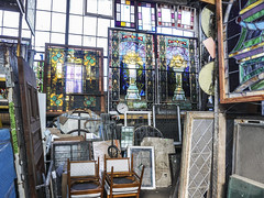 Waiting for the next life (Flapweb) Tags: scranton pennsylvania stained glass junk old decay