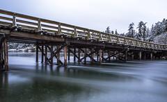Flow (Paul Rioux) Tags: esquimaltlagoon coburgpeninsula bridge bc vancouverisland colwood westshore flowing flow pilings current outdoor scenic winter snow prioux