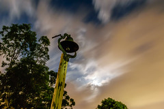 When the Bell Tolls (stephenk1977) Tags: australia queensland qld brisbane grovely mitchelton stmatthews anglican church churchyard graveyard bell cloud blur longexposure fullmoon
