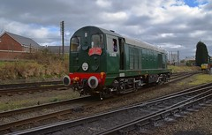 Diesel Locomotive D8098 (20098) runs around its train at Loughborough on the Great Central Railway. Spring Diesel Gala. 19 03 2017 (pnb511) Tags: greatcentralrailway trains railway locomotives loco br class20 diesel spring gala gcr track train pointwork