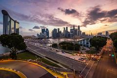 Sunset in city !!! (maison_2710) Tags: sky city sunset street night sun light clouds urban architecture cityscape building singapore skyline marina bay sands