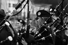 Oban High School Pipe Band in Bryant Park (kogh65) Tags: bagpipe bag scottland scottish monochrome blackandwhite music kogh65 artist manhattan image 50mm picture pov focus camera candid kogh young reportage field depth people life outdoor city tone mono m leica white black street ny nyc 2016 art travel photo photography york new obanhighschool pipeband bryantpark highschool park bryant band pipe school high oban