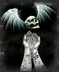 Release (Michelle O'Connell Photography) Tags: tattooed tattooedarms tattoo girlfriend adeledyball imagination death skull wings dark demure pain release photoedit pixlr doubleexposure michelleoconnellphotography