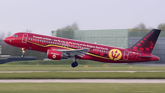 OO-SNA 320 Brussels Red Devils trident (COCOAJAMESON) Tags: brussels a320 airbus airport aircraft airplane airliner man manchesterairport manchester manairport egcc logojet reddevils trident takeoff departure departing