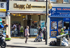 Choppy Cut (Much Ramblings) Tags: hairdressers stamfordhill stokenewington rubbishbins streetcleaners