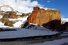 Nepal/Mustang (Rolfmundi) Tags: outdoor nepal mustang fluss schnee felsen brücke häuser