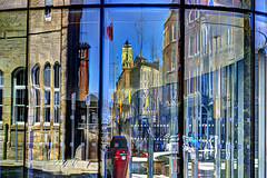 (DeZ - light painter) Tags: reflection guelph ontario canada downtown cityhall cardenstreet hdr architecture abstract design dez