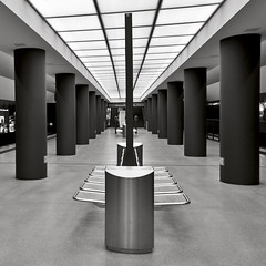 """Tube Station Brandenburg Gate in Berlin"" © 2017 by Silva Wischeropp aka Silva Capitana (SILVA CAPITANA) Tags: tubestation brandenburggate blackandwhite architecture monochromeart berlin railway tracks building urban abstraction mono platform modernarchitecture citycenter berlinmitte traffic underground monochrome fineart cityscape city town germancapital train trainstation station indoor urbanarchitecture black white grey duplex cityview tube subway germany publicbuilding citytraffic railwaystation urbanlandscape blackwhite"