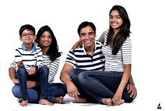 Family Pic (rajnishjaiswal) Tags: portrait family girl boy husband wife son daughter strobe whitebackground stripes blue white smiling people groupphot familyportrait