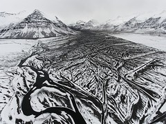 Magic Iceland (Chris Herzog) Tags: ifttt 500px landscape mountains water nature river pattern aerial snow monochrome sand valley blackandwhite flow slope birdview black drone bed iceland dji