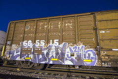 GHOULS (TRUE 2 DEATH) Tags: longexposure ghouls ghoul gtb a2m boxcar train freight railroad benching railfan railcar trains graffiti graf railways tag freighttrain spraypaint freighttraingraffiti art rollingstock wh d30 sws