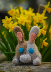 Felted Bunny (Katrina Wright) Tags: dsc0363 felting rabbit easter bunny crafts handmade daffodils