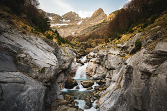 The edge of sunset (modesrodriguez) Tags: huesca spain landscape waterfall longexposure ndfilter sunset trees nature water river rio bielsa aragon valle pineta valley