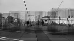 Confusion (Julien Rode) Tags: abstrait architecture city insolite ladéfense nb paris portfolio rue silhouette street transparence urban ville