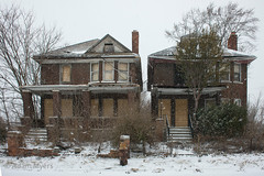 Two Abandoned Duplexes in the Snow, Detroit, March 2017 (adamkmyers) Tags: detroit abandoned abandonedhouse duplex snow oncewashome