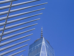 Blue & White, NYC (BFrue) Tags: world trade center nyc new york freedom tower manhattan blue sky oculus station urban scraper building tall clear view usa