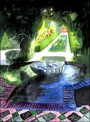 Garden, Generalife (Dr Graham Beards) Tags: andalucia alhambra generalife fountain granada spain watercolor watercolour