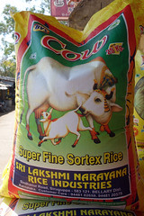 Cow Super Fine (geneward2) Tags: india rice sack