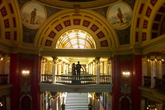 Montana State Capitol  ~ Helena Montana ~ State House Interior (Onasill ~ Bill Badzo ~ 40M Thank You) Tags: greek neoclassical architectural style montana state capitol helena mt downtown nrhp clouds sky statue garden historic historical register interior exterior dome us flag usa attraction walking tours tourist onasill america architecture building serene light skylight mural railroad site stained glass rotunda
