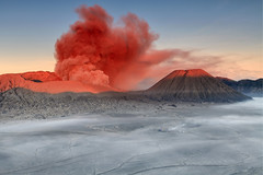 Bromo (Helminadia Ranford) Tags: travel mountain nature sunrise indonesia landscape java smoke ash volcanic bromo volvano