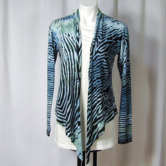 Slate, a bit of Verdigris, and Black Tiger Stripes Arashi Shibori Wrap (dyedianadye) Tags: blue green straw wrap pima jacket etsy tails shibori arashi handdyed dyedianadye