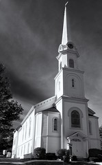 Camden church (vathiman) Tags: bw church maine steeple