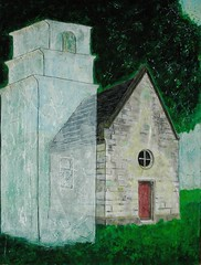 Regrets - I would have liked to build a small church with a belfry. (neisha5055) Tags: art japan watercolor wooden board engrave oilpastel