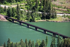 Clark Fork Rail Road Bridge (Satin Ribbon) Tags: bridge river photography nw bluewater idaho railroadbridge aerialphotography seaplane panhandle clarkfork seaplaneride photographictours n423t clarkforkriverbridge