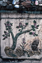 Mosaic tree, Wat Arun Temple, Bangkok (1982) (Duncan+Gladys) Tags: thailand bangkok enhanced th