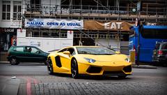 DMC (James_Greasley) Tags: money colour london cars car yellow canon photography eos photo bright picture fast wrap 500 carbon expensive powerful lamborghini supercar lous spotting dmc matte spoiler supercars fibre tuned 500d hypercar hypercars aventador