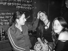 Lorna's pout (Gary Kinsman) Tags: 2005 girls bw london smile angel bar night drunk blackwhite pub women head candid flash content stroke saturdaynight pout late upperstreet unposed islington n1 thebull