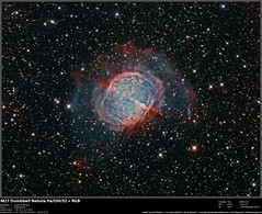 M27 Dumbbell HA/OIII/SII + RGB (Terry Hancock www.downunderobservatory.com) Tags: camera sky apple monochrome night stars photography mono pier backyard fotografie photos space shed science images astro observatory telescope nebula astrophotography astronomy imaging planetary 12 messier ccd universe f8 cosmos technologies core paramount luminance the lodestar teleskop m27 astronomie dumbbell byo deepsky vulpecula ngc6853 astrograph autoguider starlightxpress astrotech ritcheychrétien mks4000 gt1100s qhy9m
