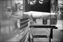 Reflecting on working trucks (Eric Flexyourhead) Tags: bw detail japan truck reflections japanese blackwhite shiny working chrome 大阪 日本 osaka kansai 45mm mino fragment minoh minoo zd 関西地方 箕面市 minoshi mzuikodigital45mmf18 olympusem5