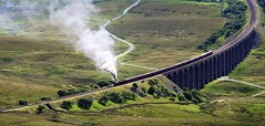 Ribblehead Viaduct with Steam Loco from the Summit of Whernside. (736mtrs)
