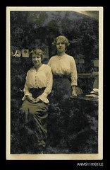 Photographic postcard of sisters Helen Dorothy and Ethel Manila Sterling on E R STERLING (Australian National Maritime Museum on The Commons) Tags: newcastle hood 1915 saloon barquentine sterlingfamily hoodcollection dorothysterling americanships ersterling samueljhoodcollection edwardrobertsterling americanshippingfamily ethelmanilasterling helendorothysterling