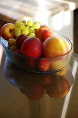 Fruits Of The Sun (MBarbur) Tags: reflection fruits pentax peach fresh grapes k5 55300