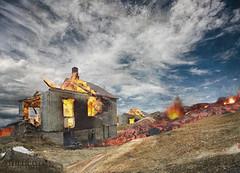Eldgos/Eruption [photoshop] (SteinaMatt) Tags: house texture photoshop matt fire iceland burning eruption steinunn steina matthasdttir