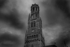 Bruges (Tony Shertila) Tags: city vacation blackandwhite bw holiday tower weather night clouds town europe belgium cloudy brugge tourist medieval belfry bruges carillion flemish marketsquare greyscale veniceofthenorth hanseaticleague medeaval mygearandme vision:outdoor=0792 vision:sky=0893 vision:clouds=0723 vision:street=0663