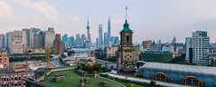 The General Post Office Building of Shanghai and Suzhou River (Lord Shen) Tags: china city urban horizontal canon river landscape photography asia shanghai outdoor aerialview landmark gettyimages thebund lujiazui hongkou panoramicview