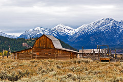 Nice backdrop (Jackpicks) Tags: mountains wyoming grandtetons grandtetonnationalpark mormonbarn