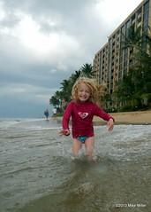 My Roxy Girl (mikepmiller) Tags: ocean playing beach girl hawaii islands waves pacific maui palmtrees hi splash roxy lahaina rashguard kanapali